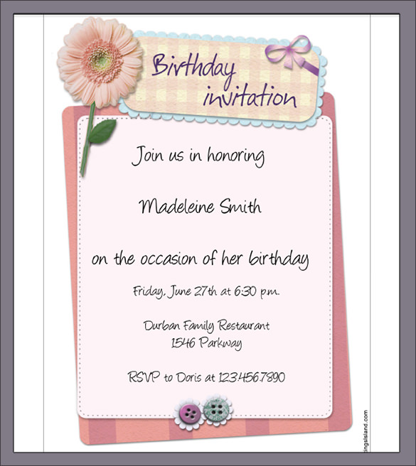 A Birthday Party Invitation Letter All The Best Invitation In - Formal birthday invitation mail